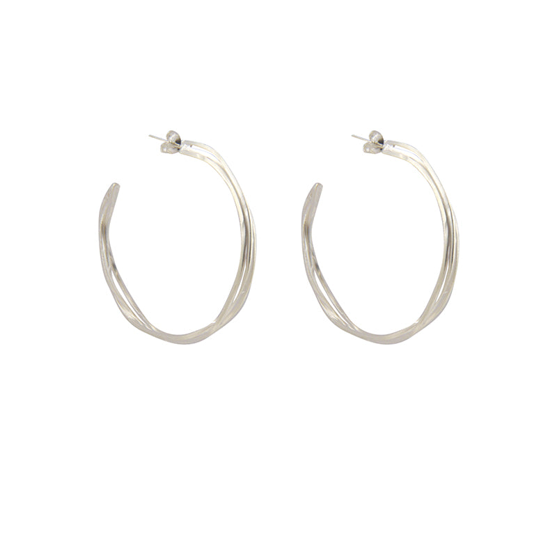 Hammered Trio Line Silver Sterling Silver Loop Earrings