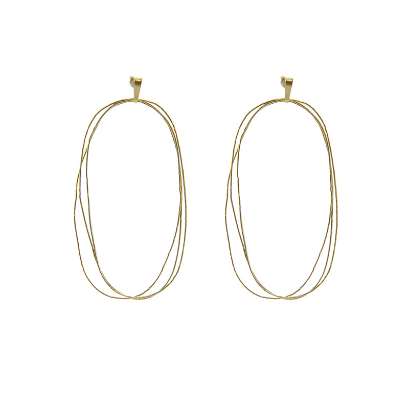 Trio Thin Cutout Oval Gold Sterling Sliver Pierced Earrings