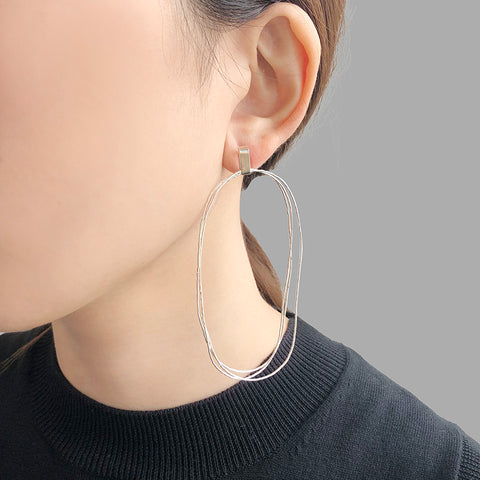 Trio Thin Cutout Oval Sterling Sliver Pierced Earrings