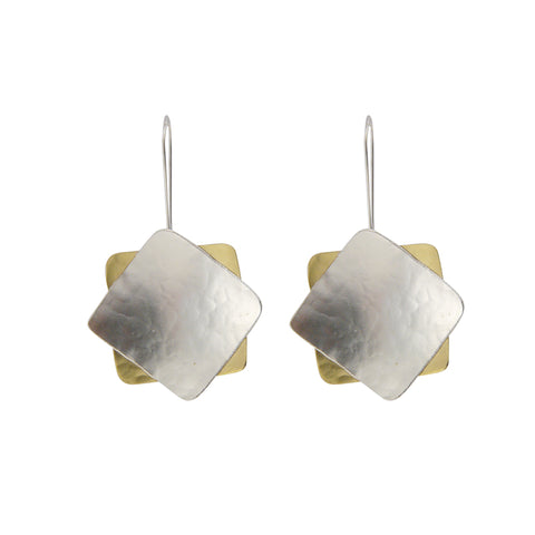 Duo Square Gold & Silver Sterling Sliver Earrings