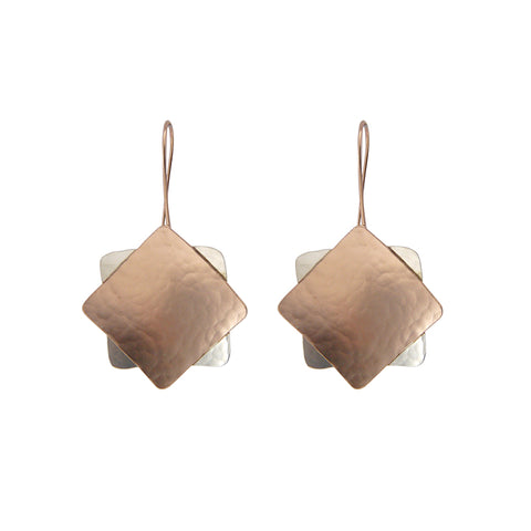 Duo Square Rose Gold & Silver Sterling Sliver Earrings
