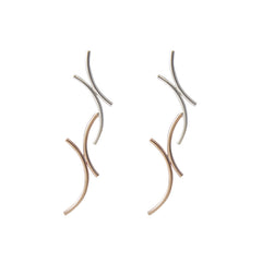 Double X Twisted Rose Gold Sterling Sliver Earrings