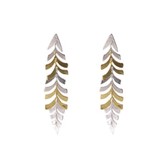 Long stripe Leaf Gold Silver Sterling Sliver Earrings
