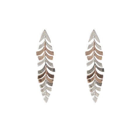 Long stripe Leaf Rose Gold Silver Sterling Sliver Earrings