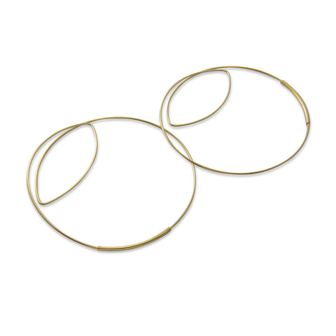 Cutout Gaint Circle Gold Sterling Sliver Earrings