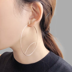 Cutout Gaint Circle Rose Gold Sterling Sliver Earrings