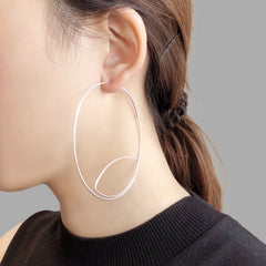Cutout Gaint Circle Silver Sterling Sliver Earrings