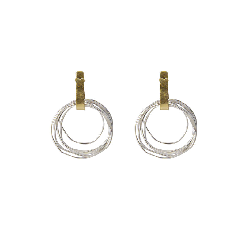 Cutout circle Gold Silver Sterling Sliver Earrings