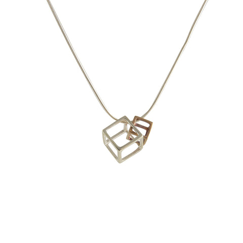 Duo Outlined Cubes (B Silver & S Rose Gold) Sterling Silver Short Necklace