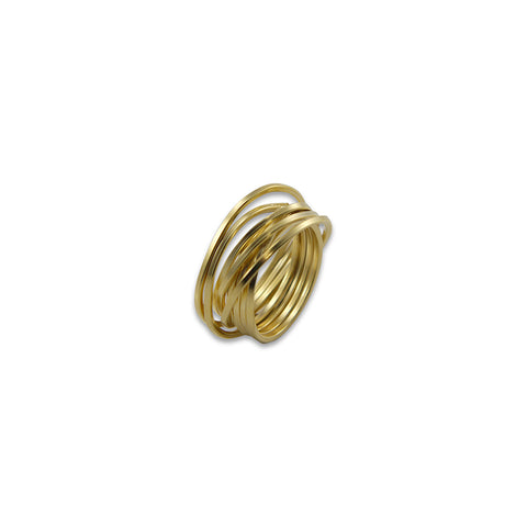 Thin Multi-line Gold Sterling Sliver Ring