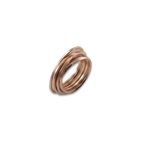 Thin Multi-line Rose Gold Sterling Sliver Ring