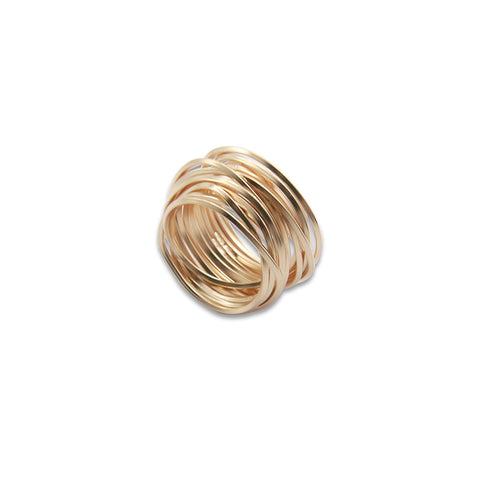 Thick Multi-line Rose Gold Sterling Sliver Ring