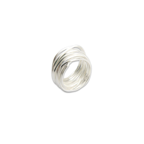 Thick Multi-line Sterling Sliver Ring