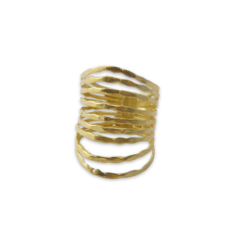 Nine Multi-line Gold Sterling Sliver Ring
