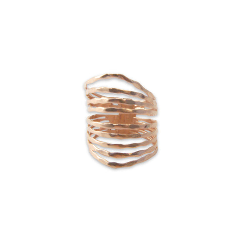 Nine Multi-line Rose Gold Sterling Sliver Ring
