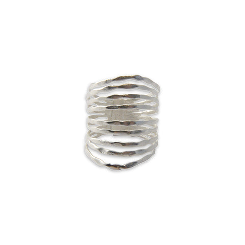 Nine Multi-line Silver Sterling Sliver Ring