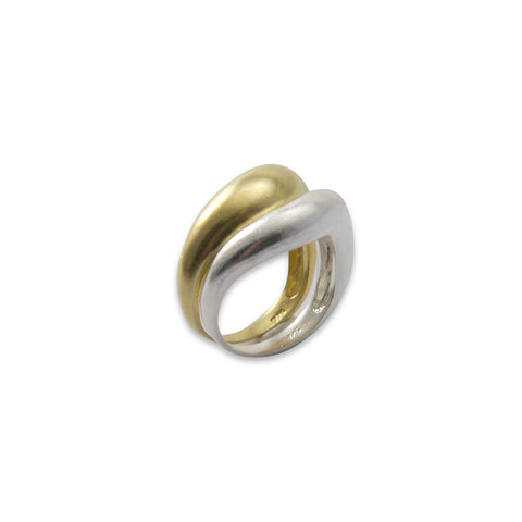 Gold Silver set of two sterling silver rings