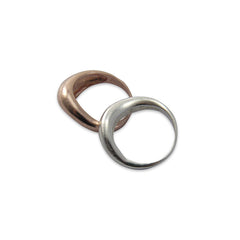 Rose Gold Silver set of two sterling silver rings