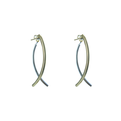 Fish Tail Gold & Sliver Sterling Sliver Studs