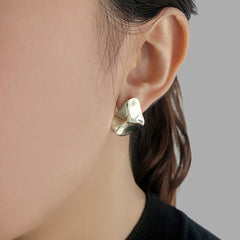 Irregular embrossed Gold Sterling Silver Studs