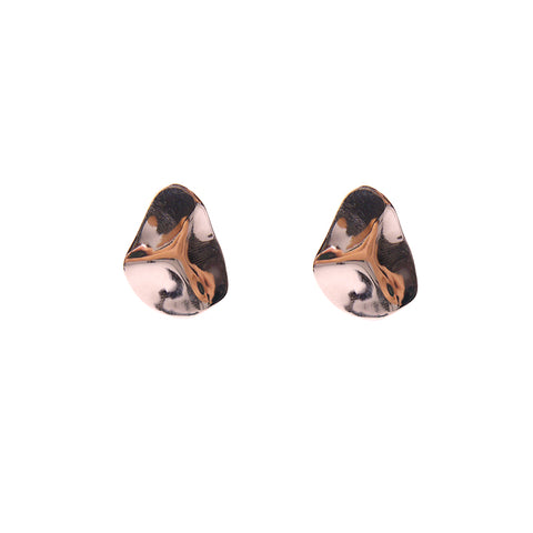 Irregular embrossed Rose Gold Sterling Silver Studs