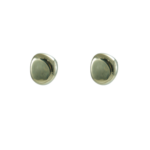 3D egg shape Gold Sterling Silver Clip Earrings