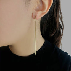 Double Tassel Gold Sterling Silver Pull Thru Earrings