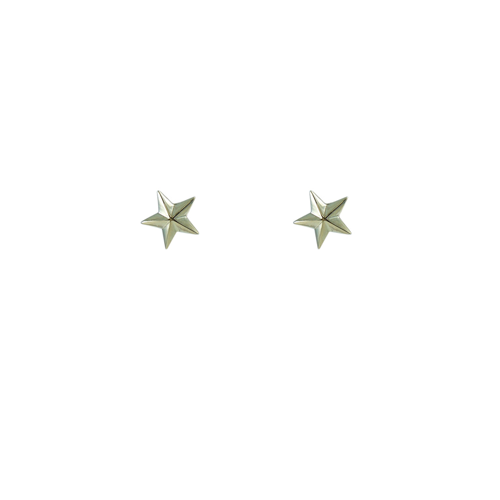 3D Star Gold Sterling Silver Studs
