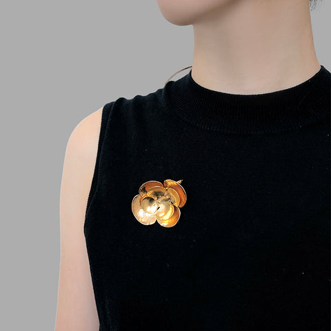 Crocus Flower Gold Brooch