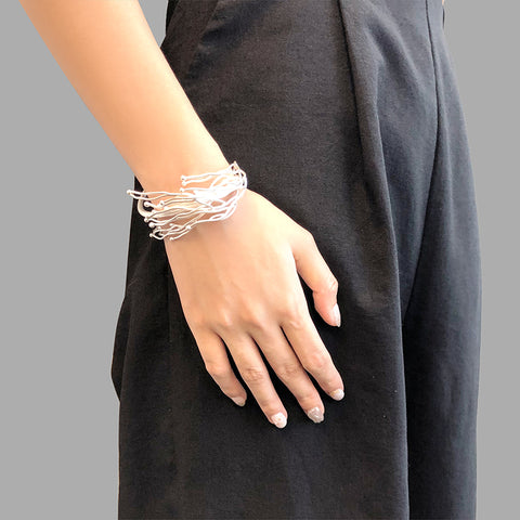 Narrow Nest Silver Bangle