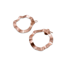 Wavy Round Rose Gold Earrings