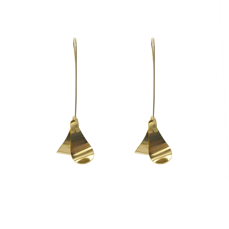 Duo Rhomboid Gold Earrings