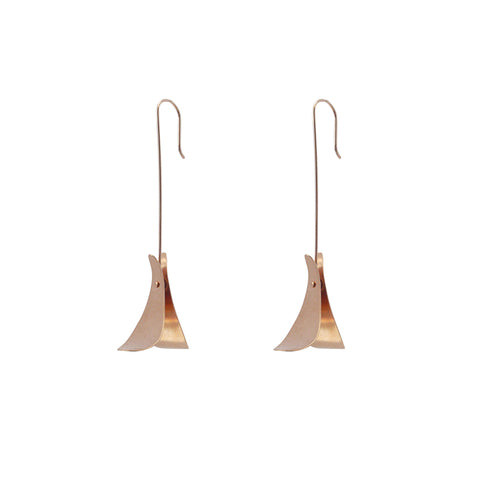 Duo Rhomboid Rose Gold Earrings