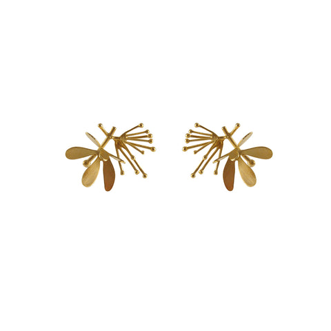 Butterfly Flower Gold Studs