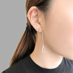 Cutout Waterdrop With 3D Diamond Rose Gold & Sliver Ear Clip Studs