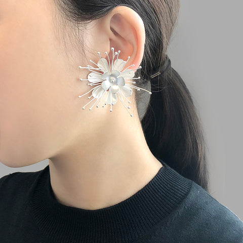 Small Flowery Silver Studs