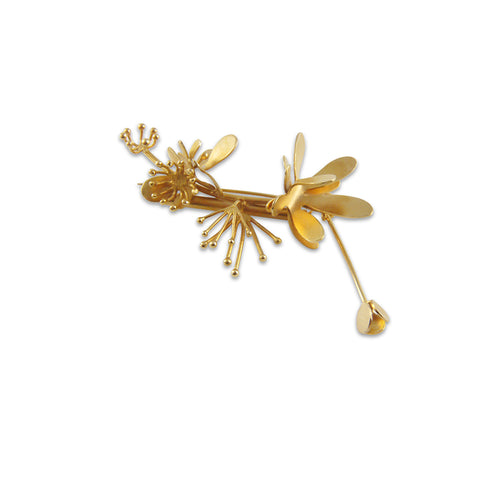 Butterfly Flower Gold Brooch