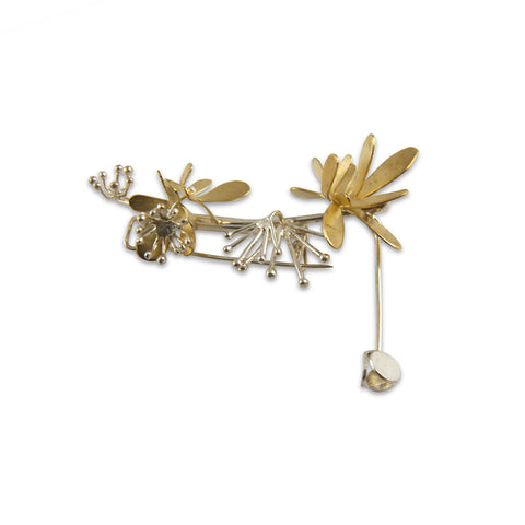 Butterfly Flower Gold Silver Brooch