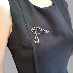 Geometry Diamond Sliver & Black Brooch