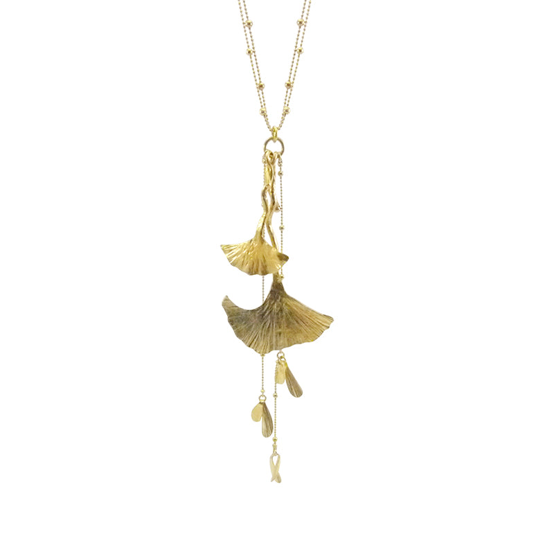 Big Ginkgo Leaf Gold Long Necklace