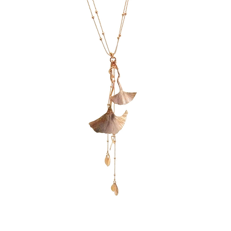 Big Ginkgo Leaf Rose Gold Long Necklace