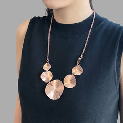 Chain of Orbicular Rose Gold Short Necklace