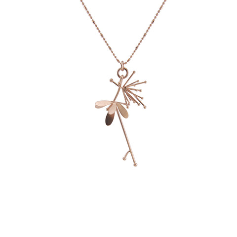 Butterfly Flower Rose Gold Short Necklace