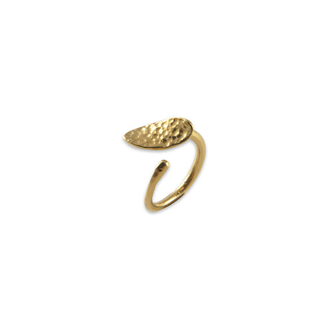 Oval Leaf Lava Gold Ring