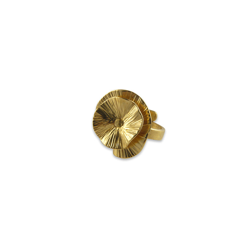 Mini Round Chip Gold Ring