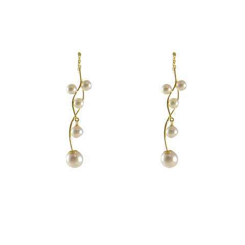 Akuya Pearl Branches 18k Real Gold Pull-Thru Earrings