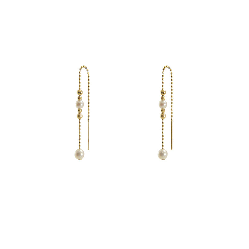 Chain with Akuya Duo Pearl 18k Real Gold bead Pull-Thru Earrings
