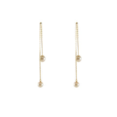 Twisted Wire Akuya Duo Pearl Branches 18k Real Gold Studs Earrings