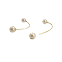 Chain with Akuya Duo Pearl 18k Real Gold Pull-Thru Earrings