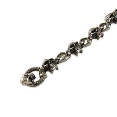 Skull Chain with T-Bar Skull Ring Hook Shinny Sterling Silver Bracelet